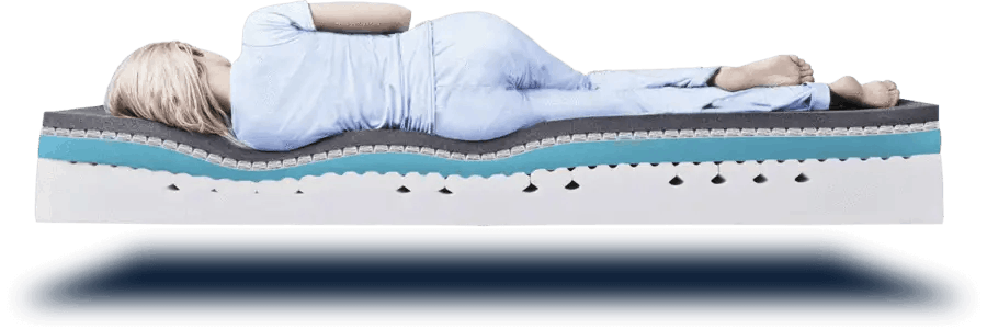 woman lying on mattress